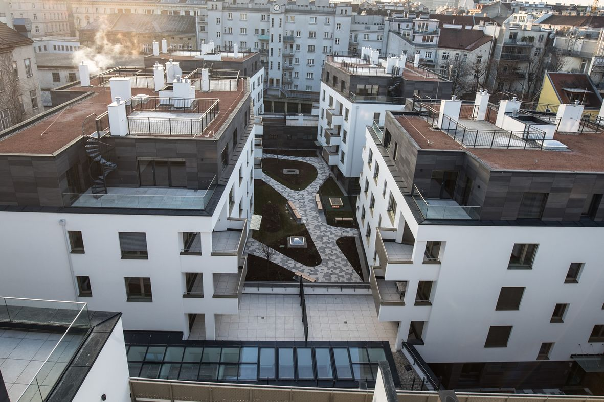 Überblick über das neue Wohnprojekt in Wieden, Goldegg Gardens