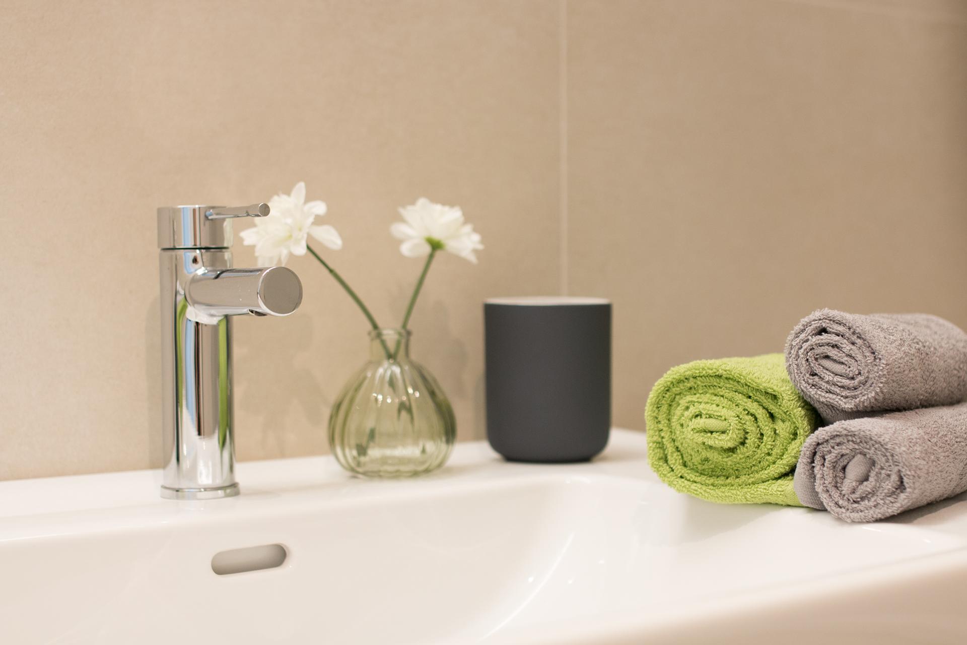 Badezimmer, Blumen, Schön, Grün